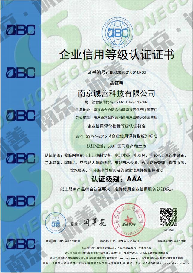 企业信用等级认证证书